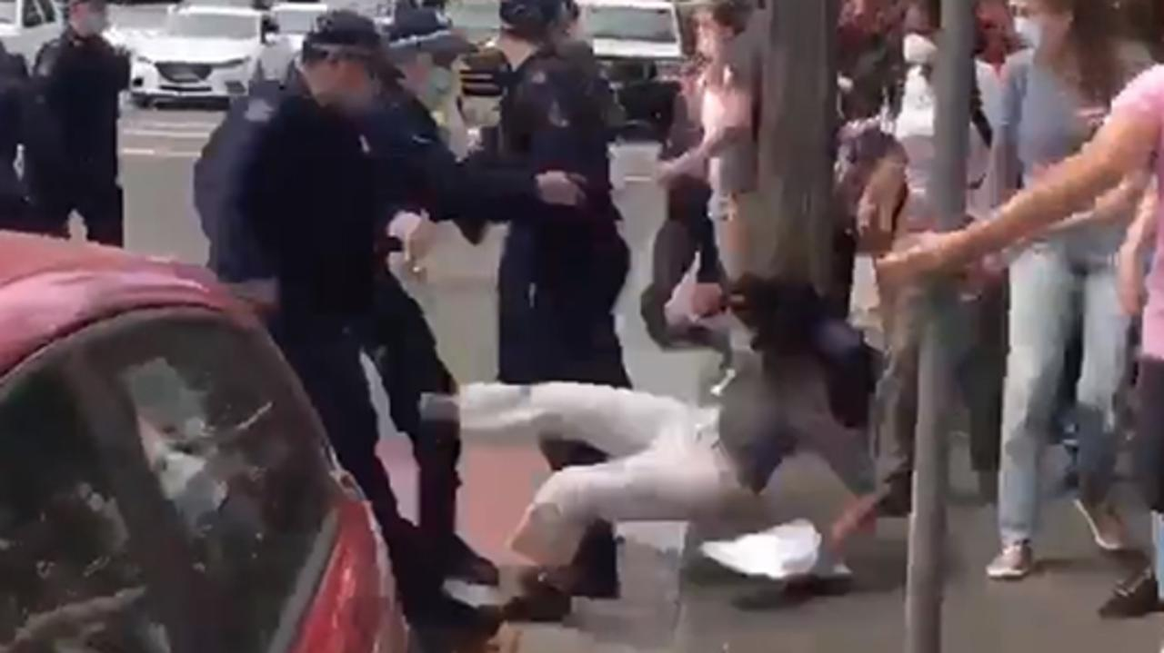 A screengrab of a video showing police throwing a UNSW student to the ground. Picture: Honi Soit