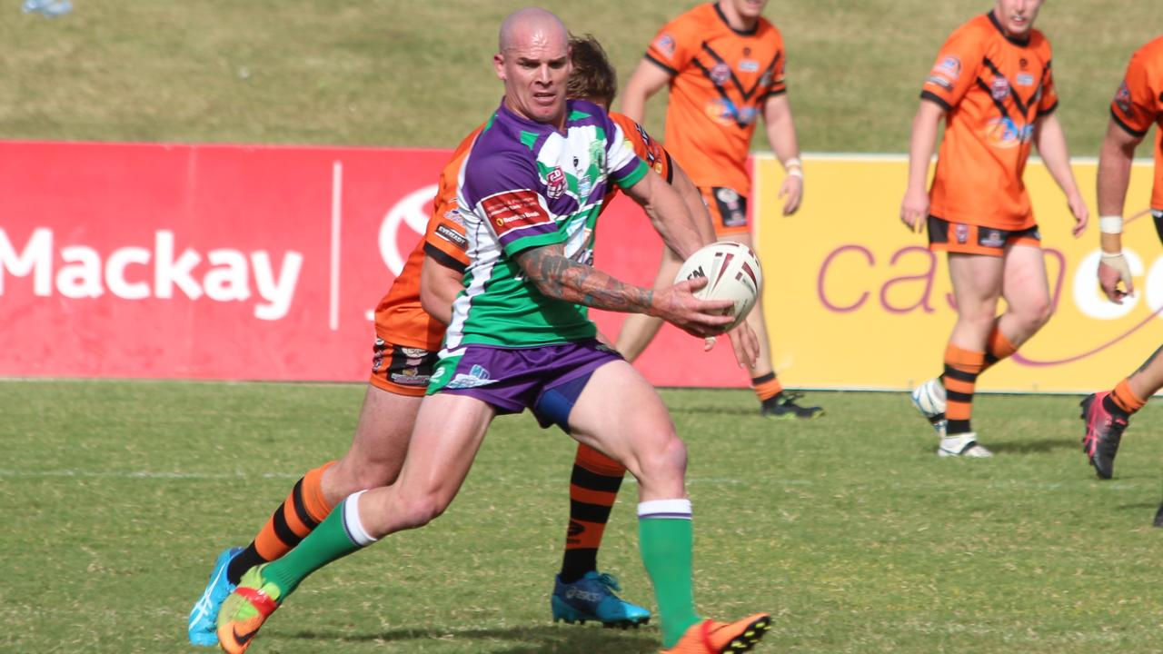 Clint Broomham, pictured playing for the Brahmans last season, received the Bill Paten Medal as Rugby League Mackay & District A-Grade Player of the Year.