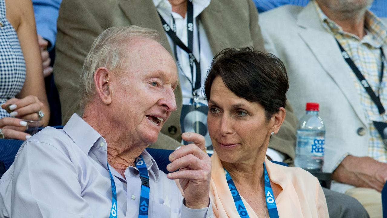 Jayne Hrdlicka with tennis great Rod Laver at the Australian Open.