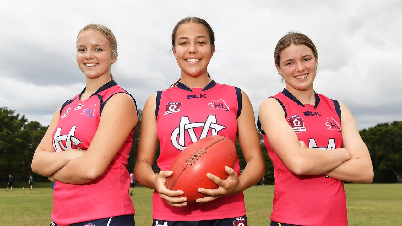 Mountain Creek's senior girls Abbi Blake, Demi Norton and Alana Munro. Picture: Patrick Woods / Sunshine Coast Daily.