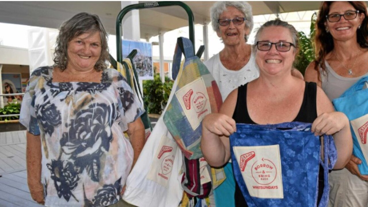 Barb Adamson with volunteers Noelene Helman, Jo Pillifeant and Denise Kemp at the Boomerang Bag launch at Whitsunday Shopping Centre. Picture: Jacob Wilson