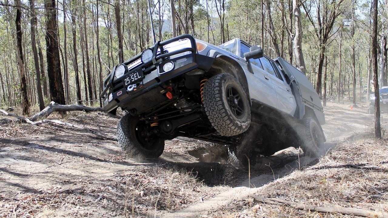 Selwyn Burrows from the Gold Coast Club getting some air at 40th Anniversary 4WDQLD Corroboree. Photo: Contributed.
