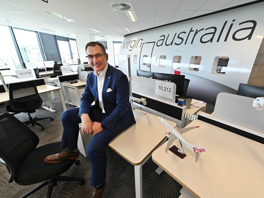 Virgin Australia CEO Paul Scurrah at the airline's Brisbane headquarters. Picture: Lyndon Mechielsen