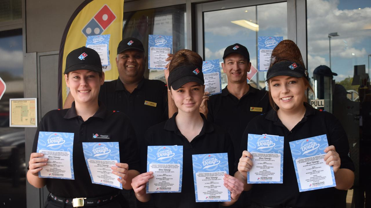 Domino's Kirkwood staff Cheyenne Roebuck, Malaka Kevitiyagala, Alex Merce, James Dooley and Hayley Auld will hold a fundraiser for the Kennedy family next Wednesday.