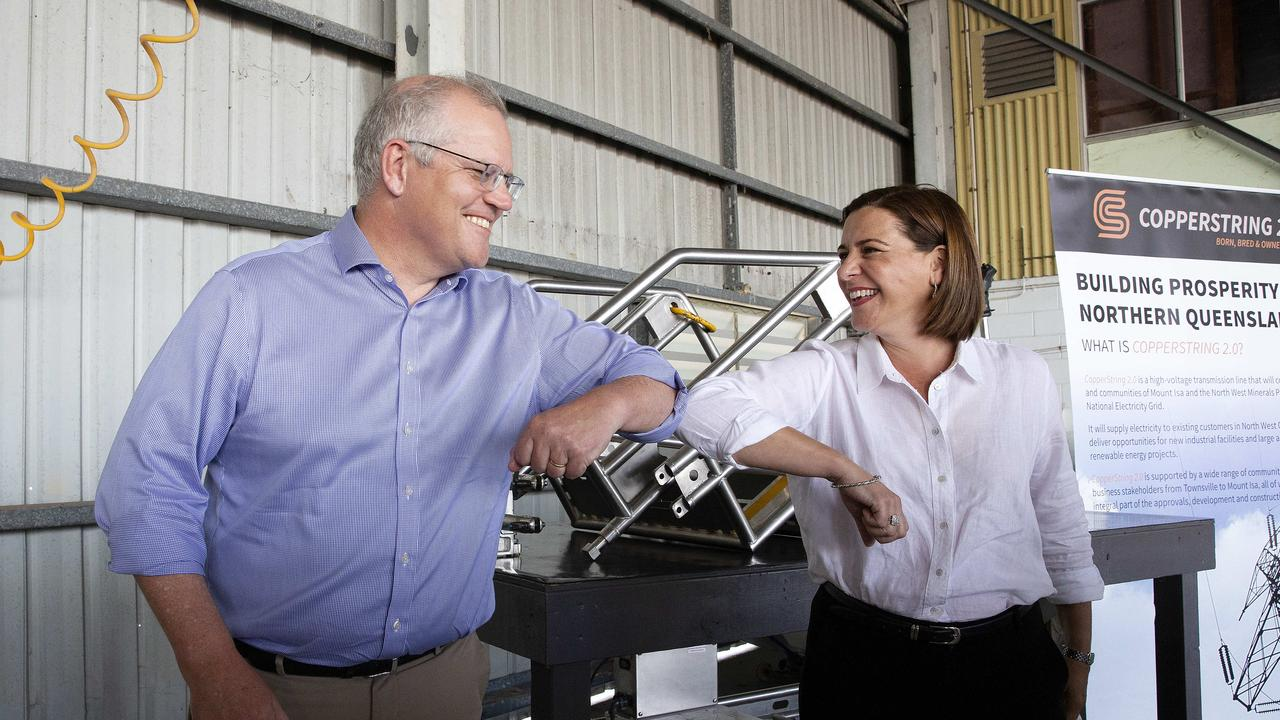 Prime Minister Scott Morrison and Queensland opposition LNP leader Deb Frecklington visit Meridian Helicopters to announce an $11M commitment to the Copperstring project. : NCA NewsWire / Sarah Marshall