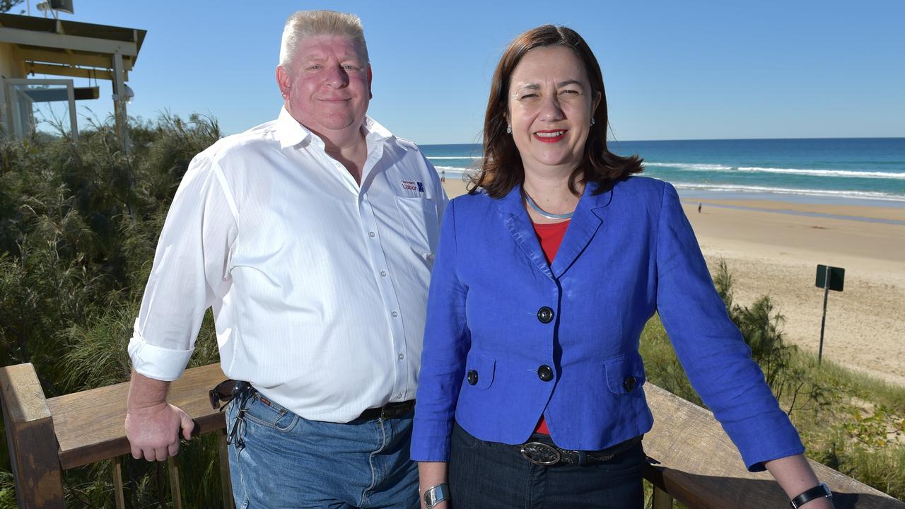 Queensland Labor Party candidate for Noosa, Mark Denham, left, with Premier Annastacia Palaszczuk. Photo: Brett Wortman / Sunshine Coast Daily