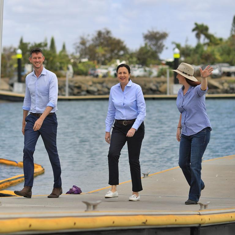 Keppel MP Brittany Lauga took Premier Annastacia Palaszczuk and Transport Minister Mark Bailey on a tour of Rosslyn Bay Boat Harbour.