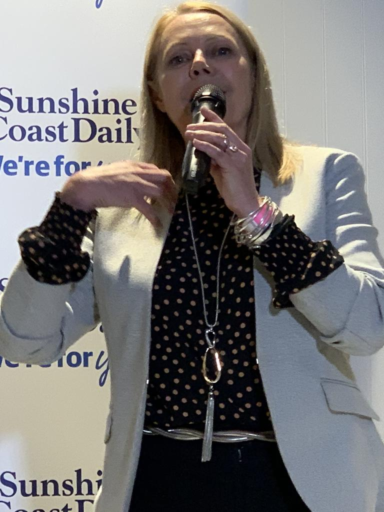 Independent candidate for Noosa sandy Bolton speaks at an election forum at Sunshine Beach Surf Club.