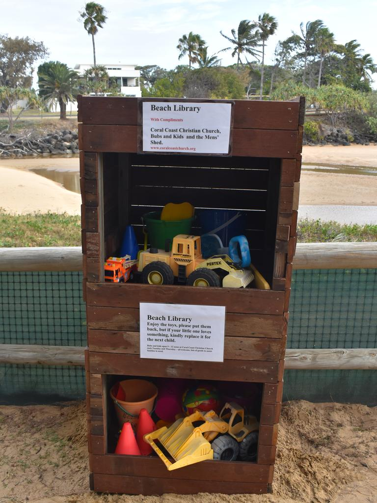 BEACH LIBRARY: Filled with all the beach toys a child would desire, the library contains everything from buckets and spades, to balls, trucks and diggers. Picture: Rhylea Millar.