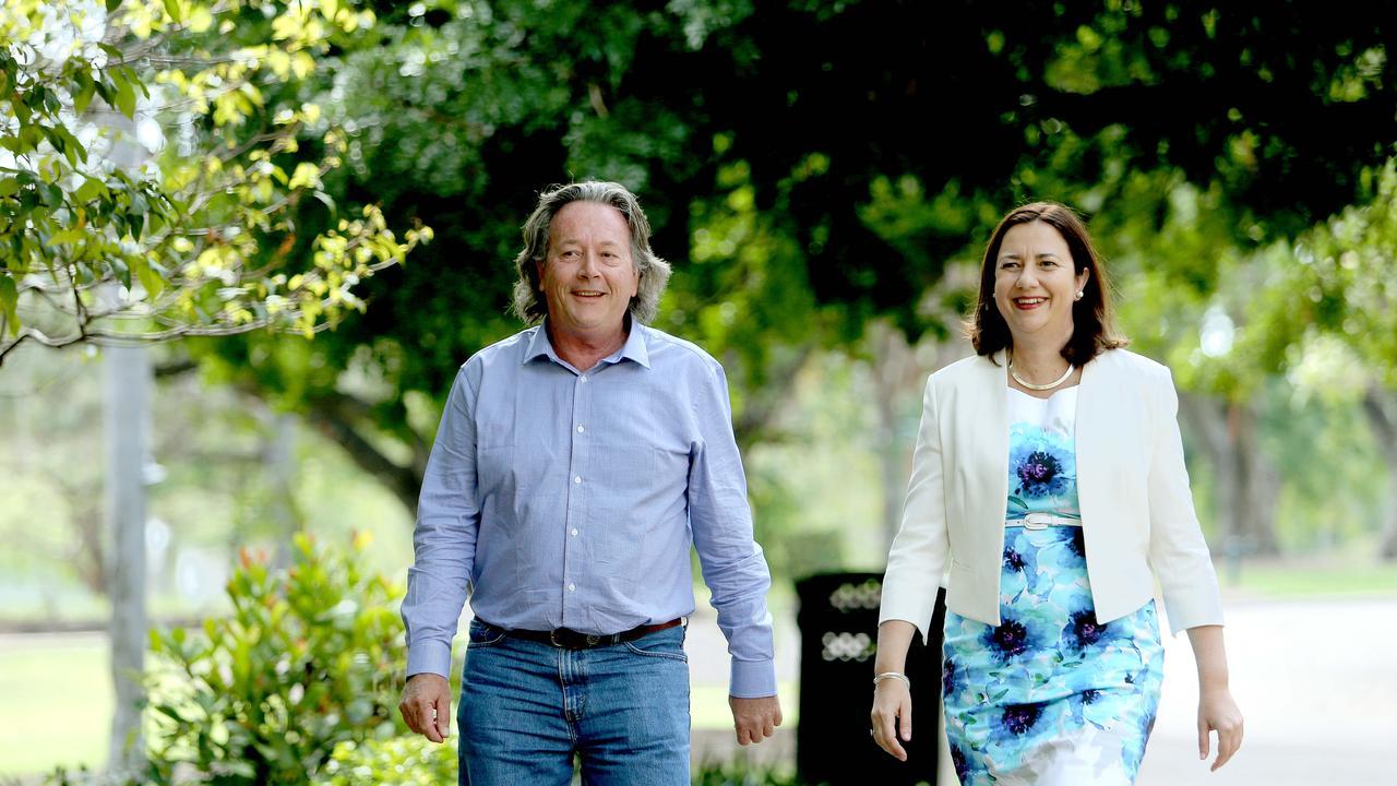 Mark O'Brien, new ALP candidate for Warrego with opposition Leader Annastacia Palaszczuk. Pic taken at the Botanic Gardens, Brisbane. Pic Mark cranitch.