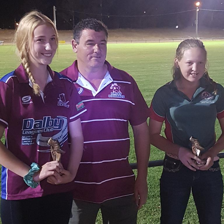 U14 Best and Fairest Prezlee Nothdurft and Nicole Robertson with Diehards A Grade coach Kerry Carmichael. Picture: Contributed