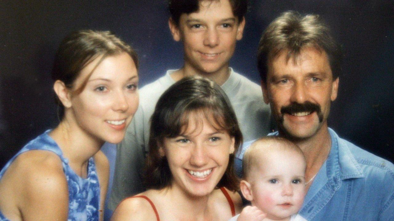 Jonty Bush with family. Clockwise Jonty Bush, Jason 12 years, Jonty's father Robert, 18-month-old Lydia and Jacinta Bush 19 years.