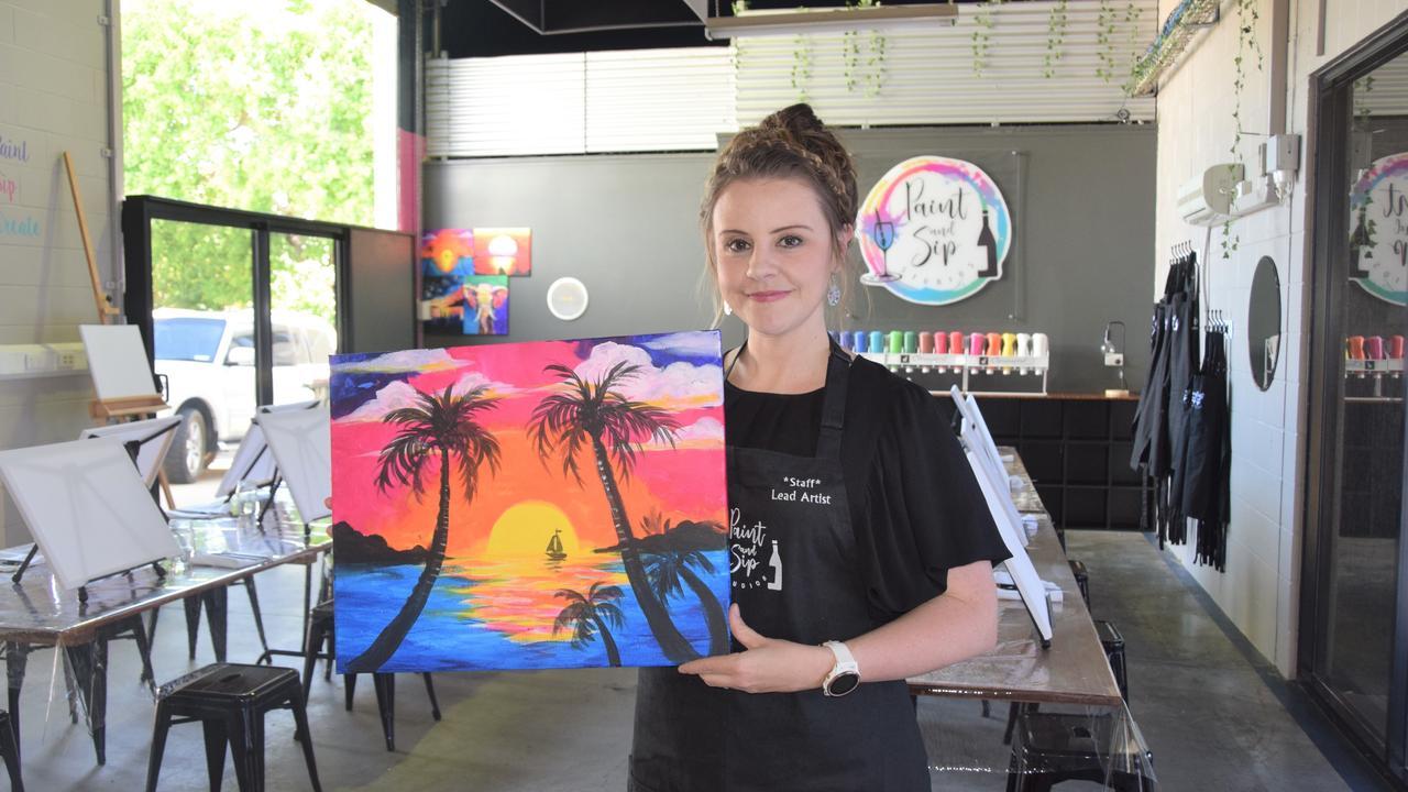 Sian Davis at her new Paint and Sip Studio in Rockhampton.