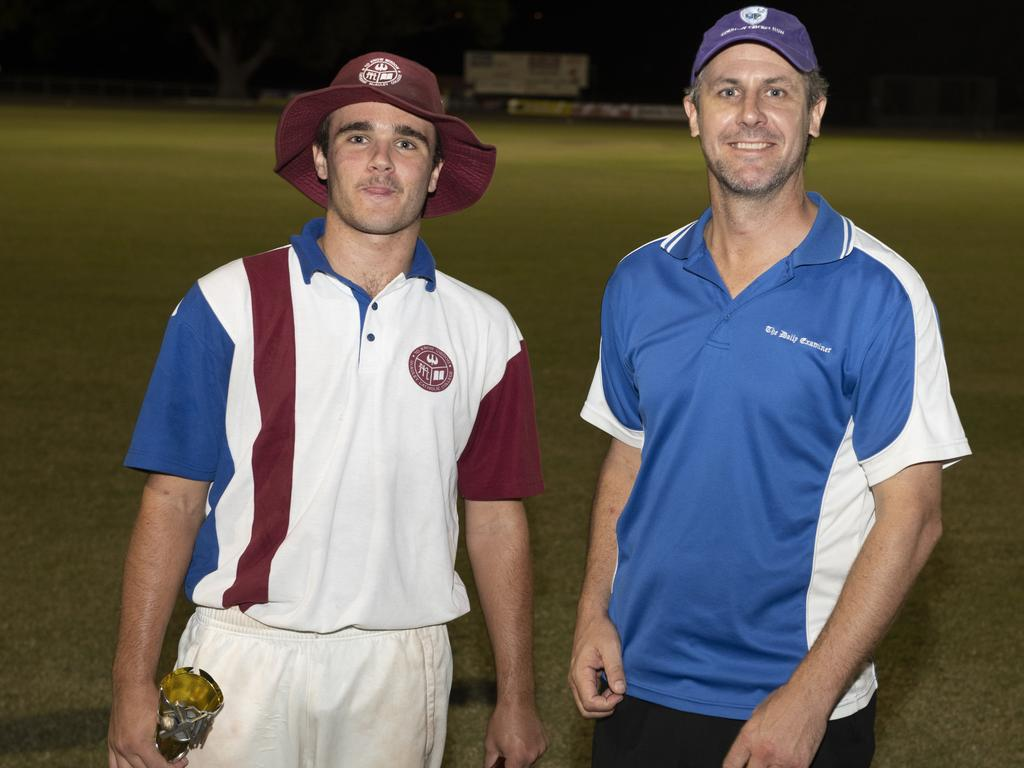 The Daily Examiner editor Bill North presents McAuley Catholic College captain Eli Fahey the Player of the Series award after his school won the inaugural DEX Shield Super 8s Cricket tournament at McKittrick Park in 2019.