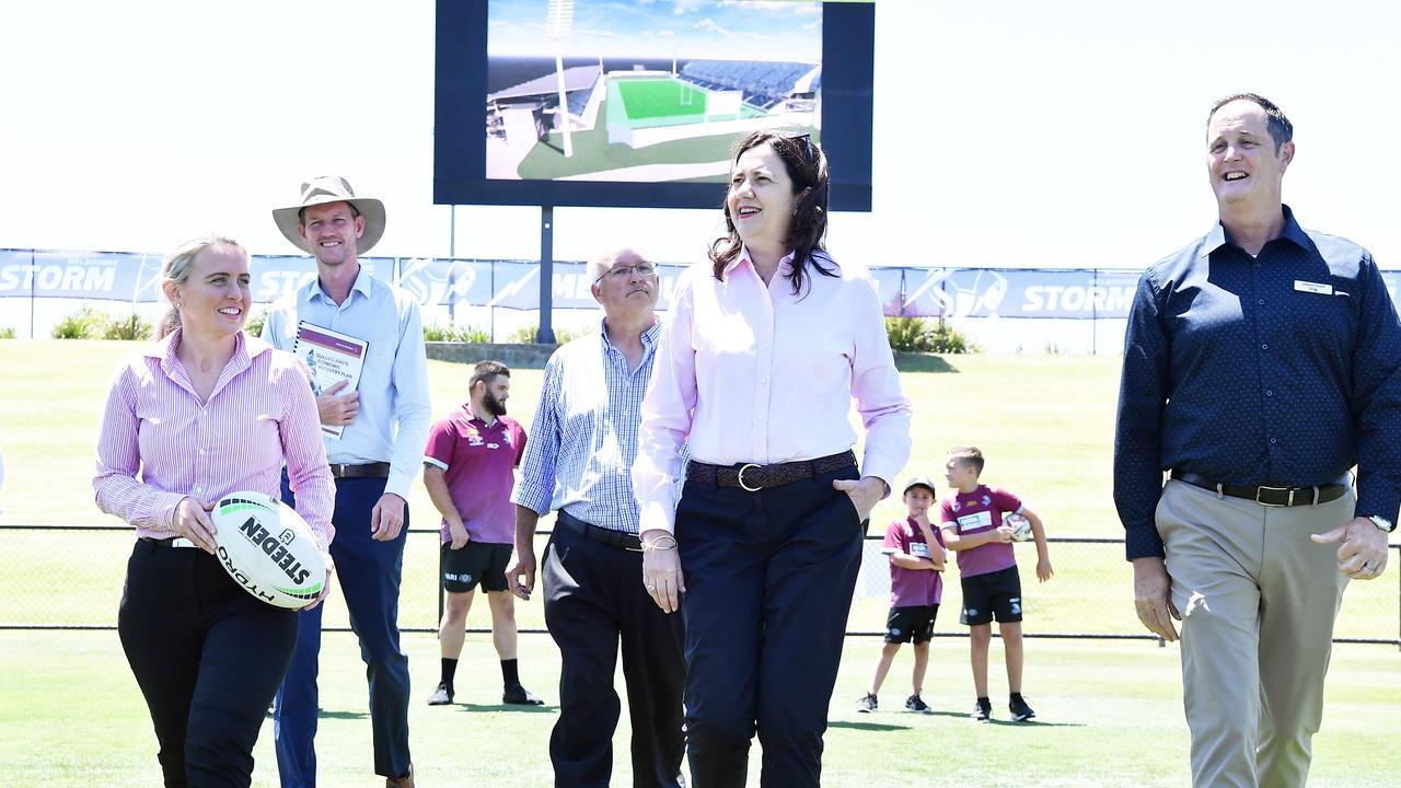 Queensland Premier Annastacia Palaszczuk has promised $20 million for major upgrades at Sunshine Coast Stadium should Labor win the upcoming state election. Photo: Patrick Woods