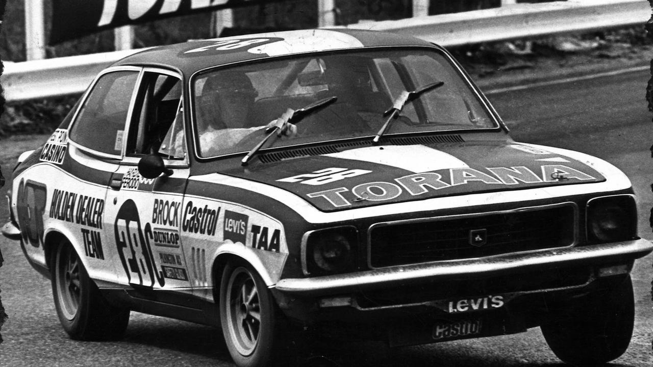 Peter Brock punts the Torana in the wet at Bathurst in 1972. Motor racing. Picture: AUTOPIX