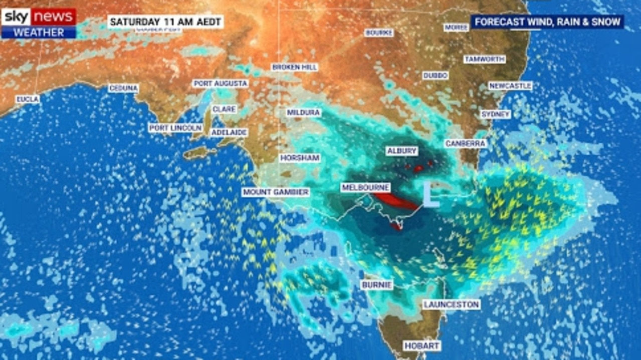 A low pressure system will bring showers and storms to Victoria and Australia's southeast this weekend. Picture: Sky News Weather