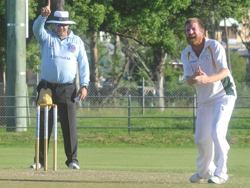 Jacaranda Hotel Westlawn/GDSC Easts bowler Nathan Blanch successfully appeals an lbw decision against Brothers Clocktower batsman Shorn Kippax in the 2019/20 Clarence River Cricket Association GDSC Premier League minor semi-final match at McKittrick Park on Saturday, 15th March, 2020.