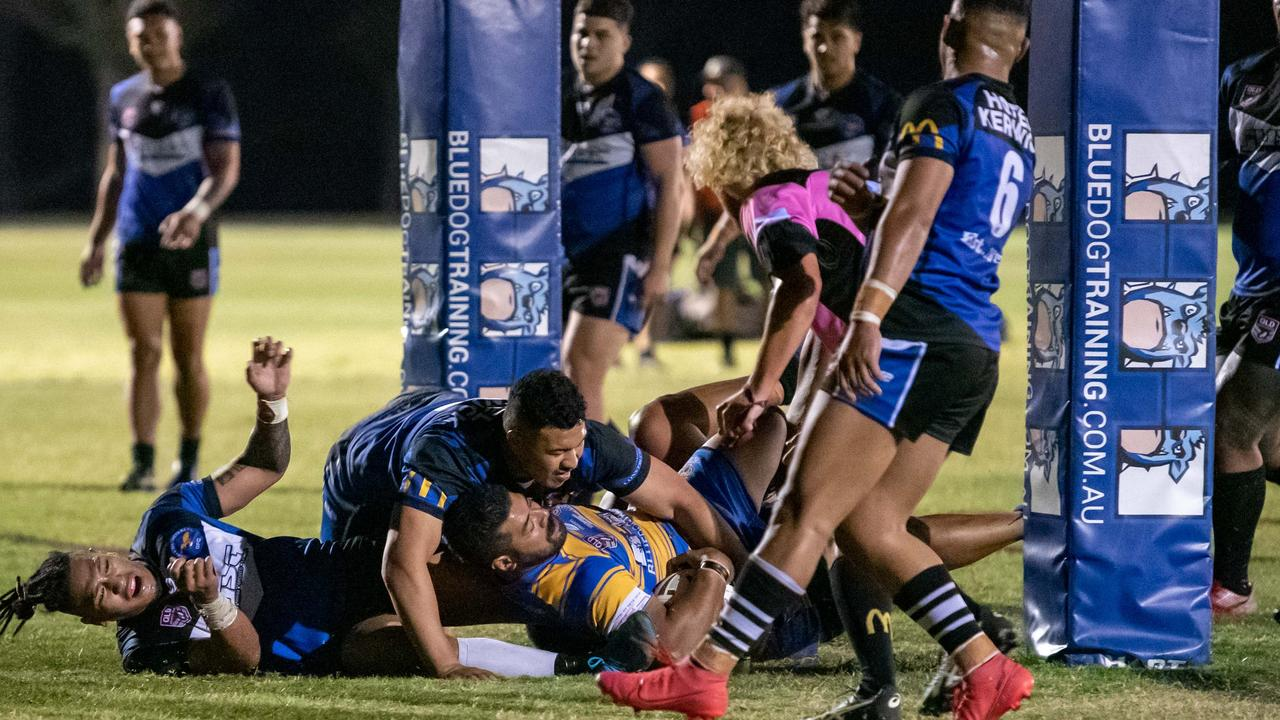 Expect plenty of tryline scrambles in Saturday's Volunteers Cup grand between heavyweight contenders Goodna Eagles and Norths Tigers. Picture: Bruce Clayton