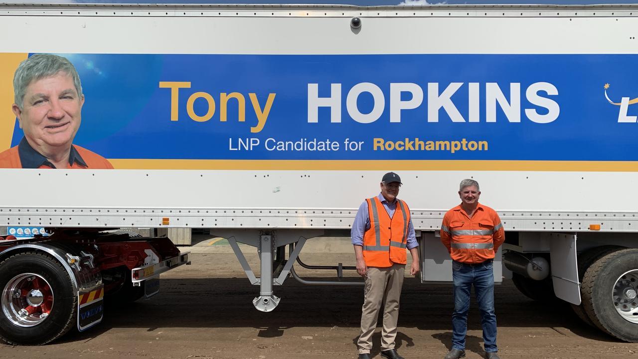 Prime Minister Scott Morrison with Rockhampton LNP candidate Tony Hopkins.