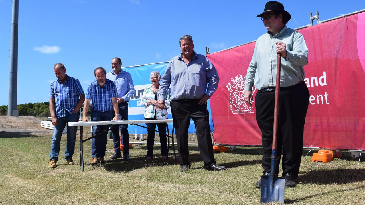 (From left) Whitsunday Sportspark vice-president Stephen Tween and chairman Justin Butler with project manager Michael Brady from Hutchinson Builders, councillor Jan Clifford, Mayor Andrew Willcox and Dawson MP George Christensen. The group is celebrating the first turning of the sod on the next phase of the Whitsunday Sportpark redevelopment. Photo: Elyse Wurm