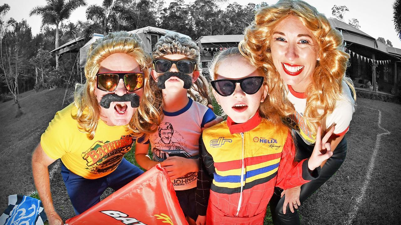 Daniel, Katie, Fletcher, and Grace Toney host their own Bathurst 1000 in their backyard. Photo: Patrick Woods / Sunshine Coast Daily.