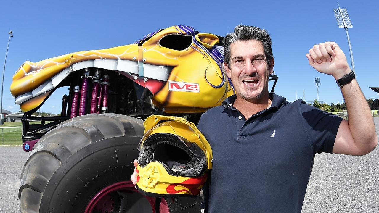 Sunshine Coast Falcons CEO Chris Flannery with Outback Thunda at Sunshine Coast Stadium. Photo: Patrick Woods