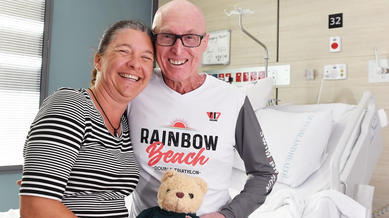 Massive heart failure survivor Greg Messer recovers in SCUH. Pictured, fiancee Nicki Wellings and Greg Messer. Photo Patrick Woods / Sunshine Coast Daily.