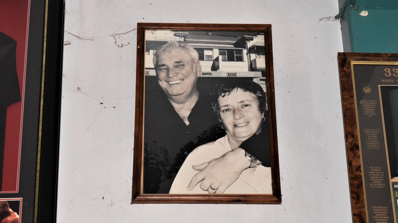 A CUT ABOVE: A photograph of former publican Lance Cameron and wife Kathleen hang above patrons at the Hotel Eton. Picture: Heidi Petith