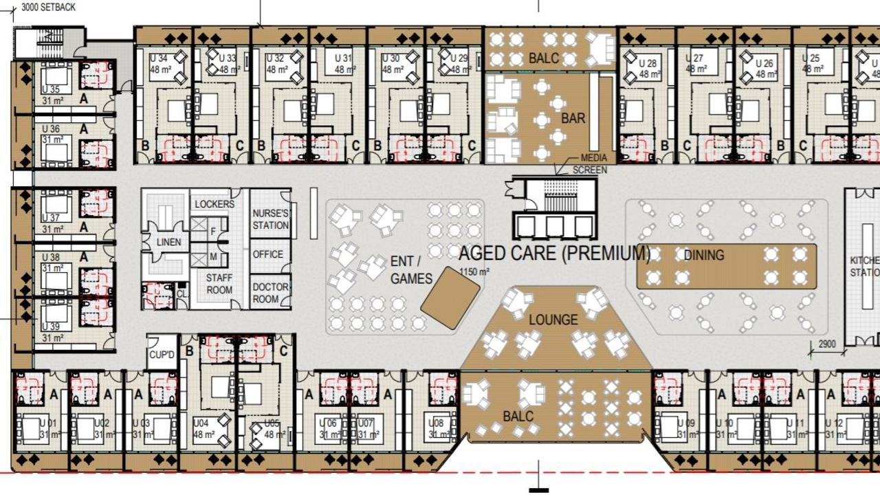 A floor plan of the aged care level in the new hospital being built at Bongaree. IMAGE: PD ONLINE