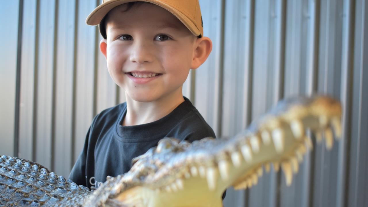 This crocodile and a large crocodile skull are on show from the Queensland Fauna and Wildlife Service team at the 2020 Mackay Home Show and Caravan, Camping Expo. Picture: Heidi Petith