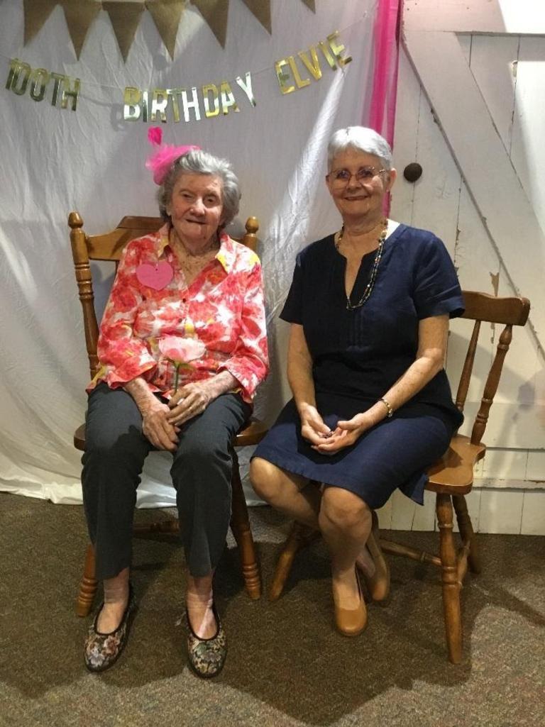 Elvie Brown and her daughter Beth celebrating Elvie's 100th birthday