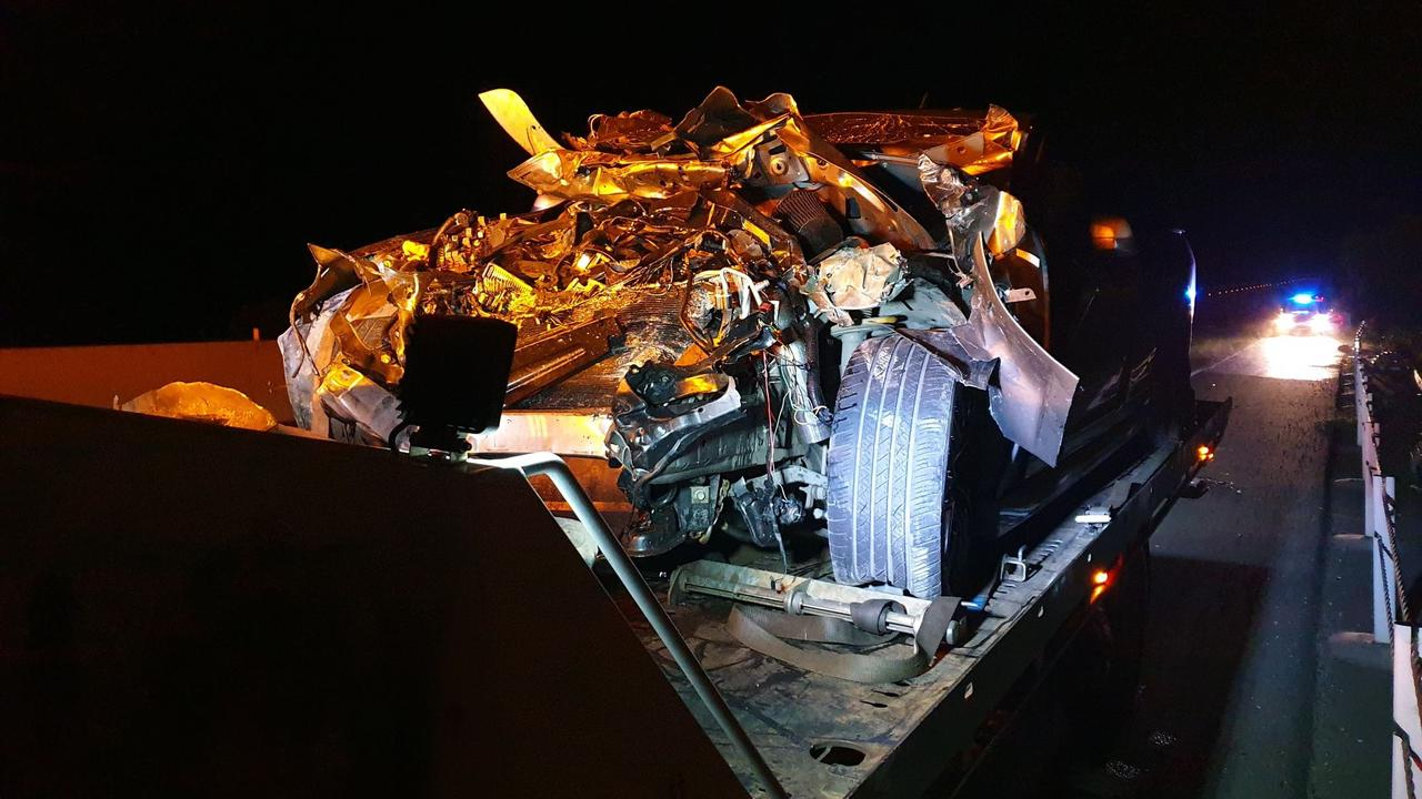 The aftermath of a single-vehicle crash on the Bruce Highway south of Gympie on Thursday night. Photos: Frances Klein