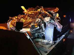 Man flees crash site after car totalled on highway