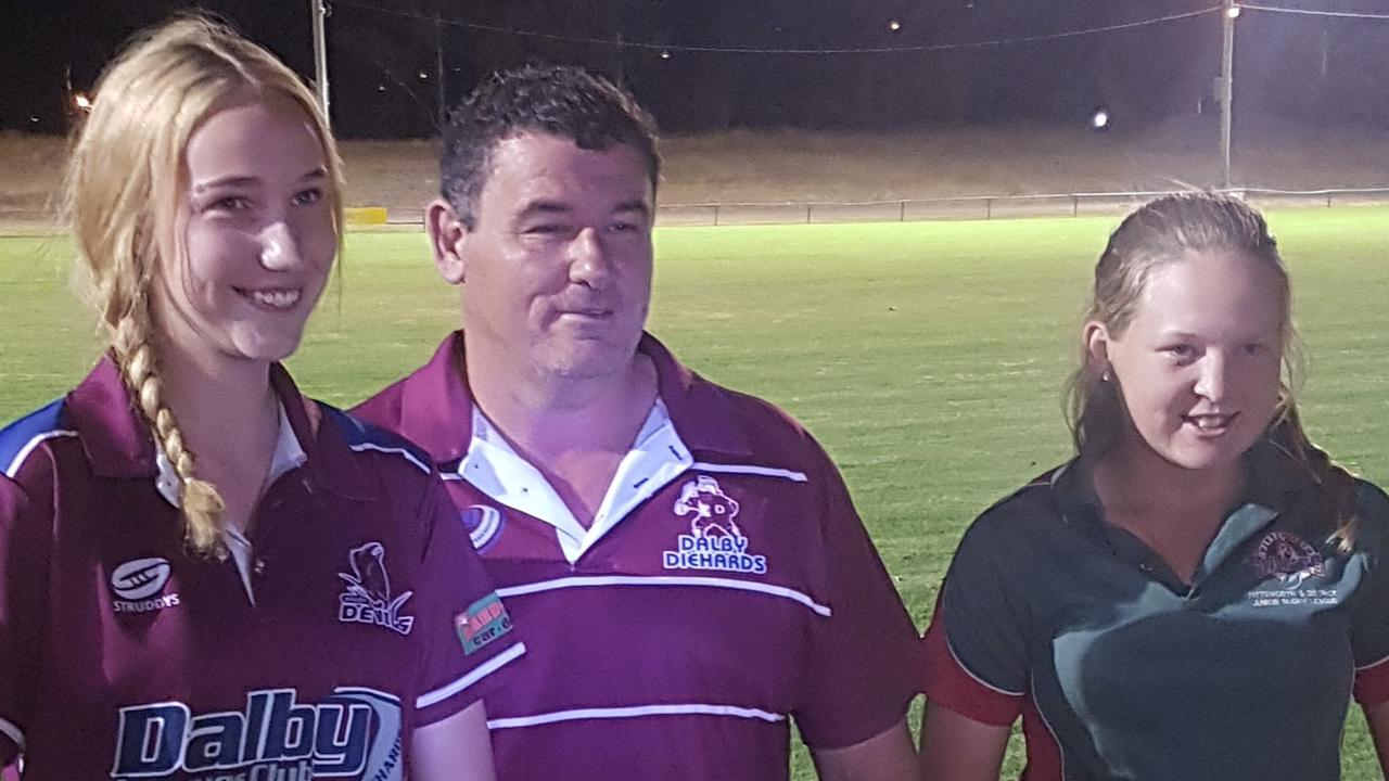 CORONAVIRUS SEASON: U14 Best and Fairest Prezlee Nothdurft and Nicole Robertson with with Diehards A Grade coach Kerry Carmichael. Picture: Contributed