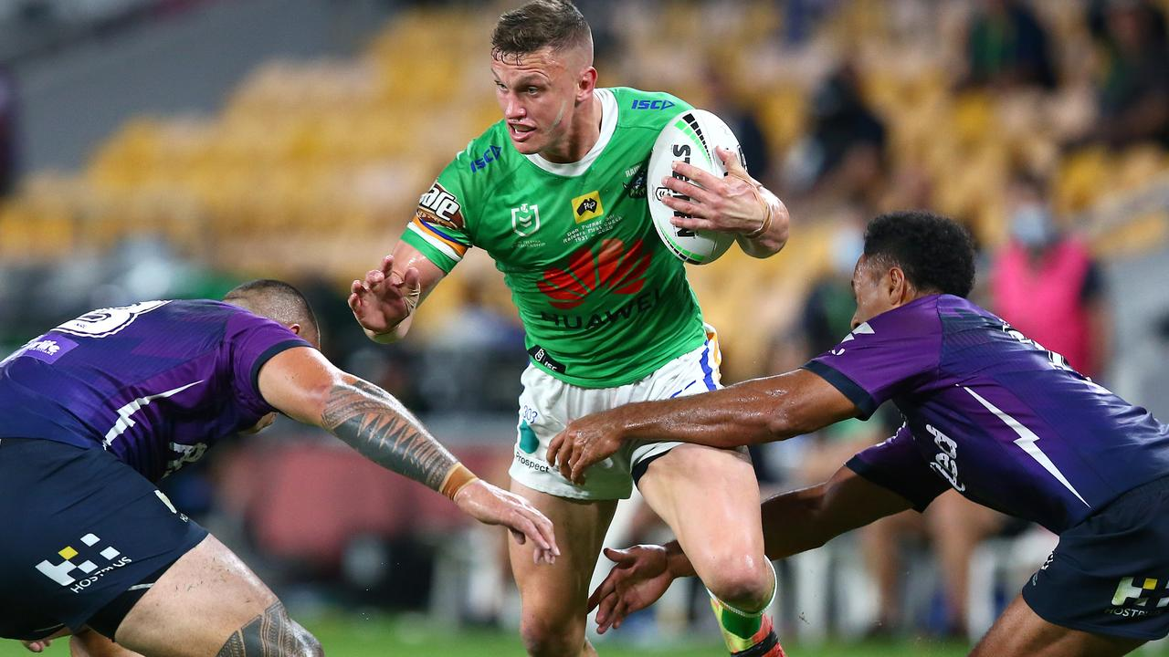 Jack Wighton on the charge against the Storm. Picture: Getty Images