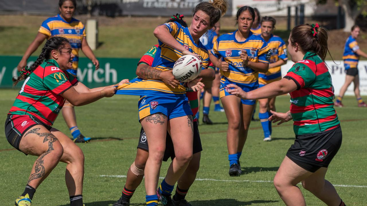 Action from the SEQW Green Division 2 semi-final between Norths Tigers Ipswich Open and Redlands Parrots at the North Ipswich Reserve. Picture: Bruce Clayton