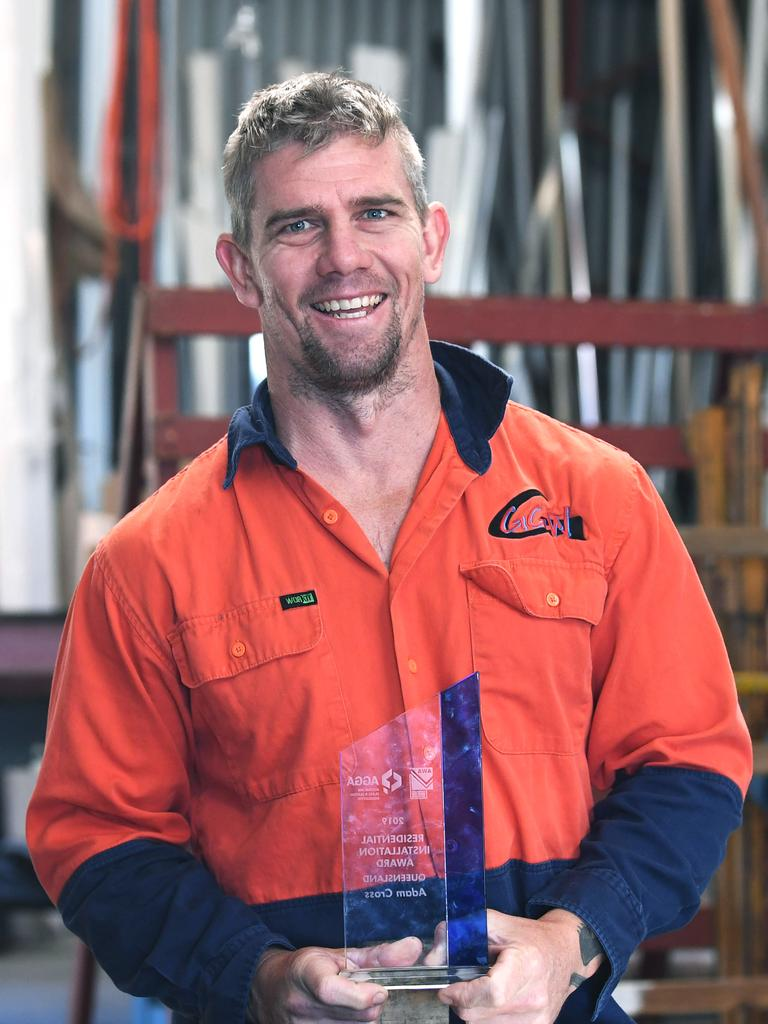 Adam Cross from Gympie Glazing Works when he won the Queensland Residential Installion Award.