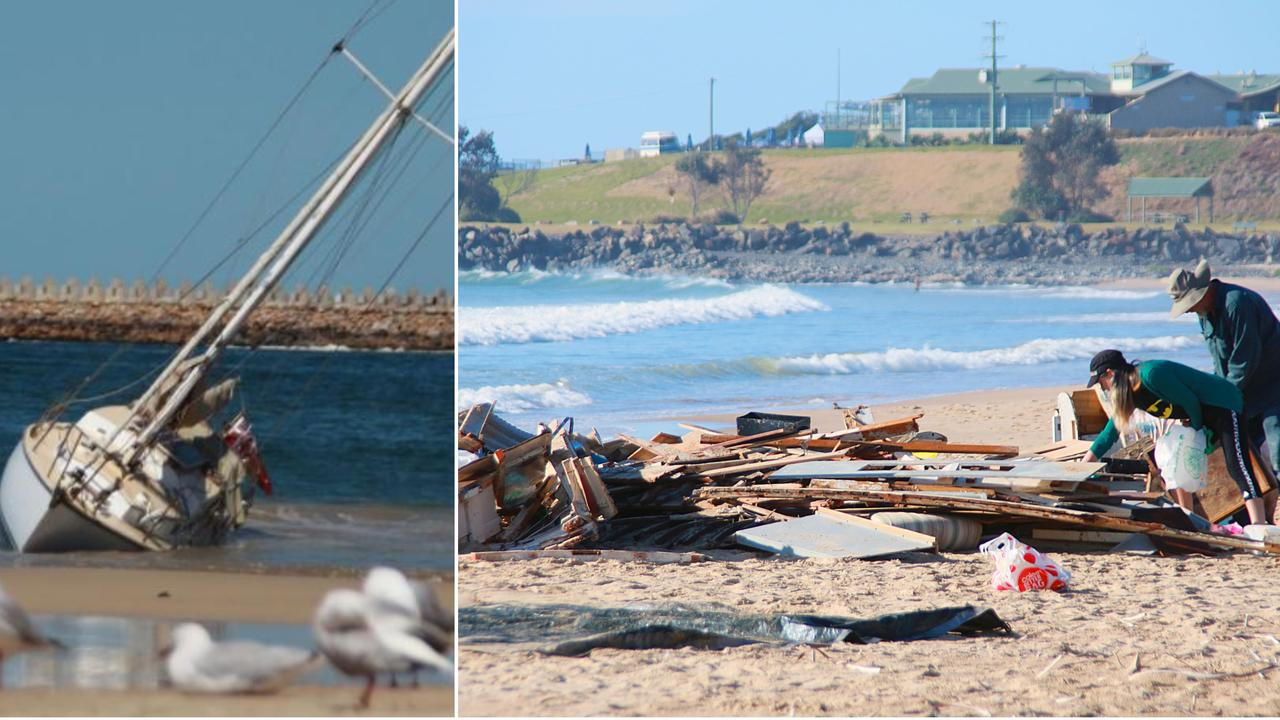 A Qld couple are devastated after their yacht, which beached itself yesterday, was destroyed by the waves.