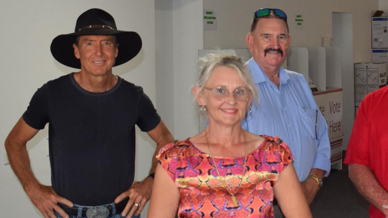 Tim Jerome (left) with Michael Blaxland and Donna Reardon at the ballot draw in Gympie.