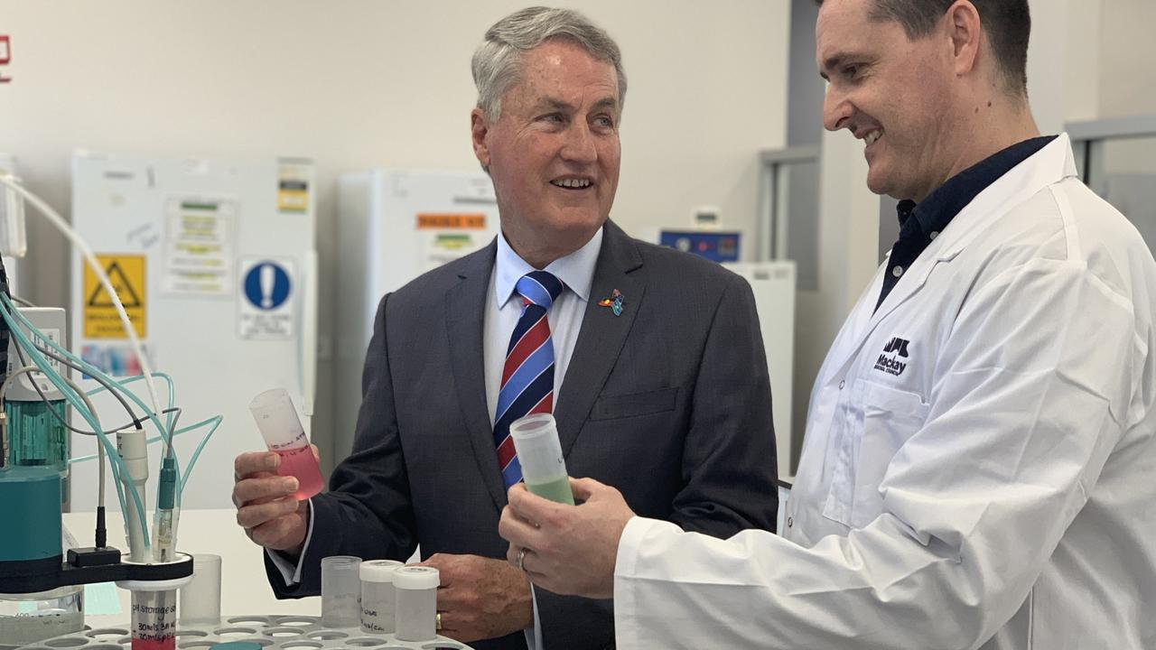 Mackay mayor Greg Williamson and water treatment manager Stuart Boyd inside council's new Water and Waste Scientific and Analytical Services laboratory on Connors Road, Paget.