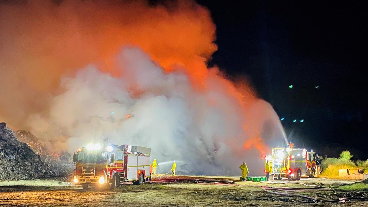 A huge dump fire burns in a sand quarry and recycling facility off Stewarts Rd in Caravonica. PICTURE: SUPPLIED