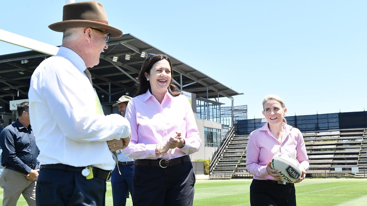 Sunshine Coast Mayor Mark Jamieson, Queensland Premier Annastacia Palaszczuk and Tourism Minister Kate Jones at Sunshine Coast Stadium. Photo: Patrick Woods