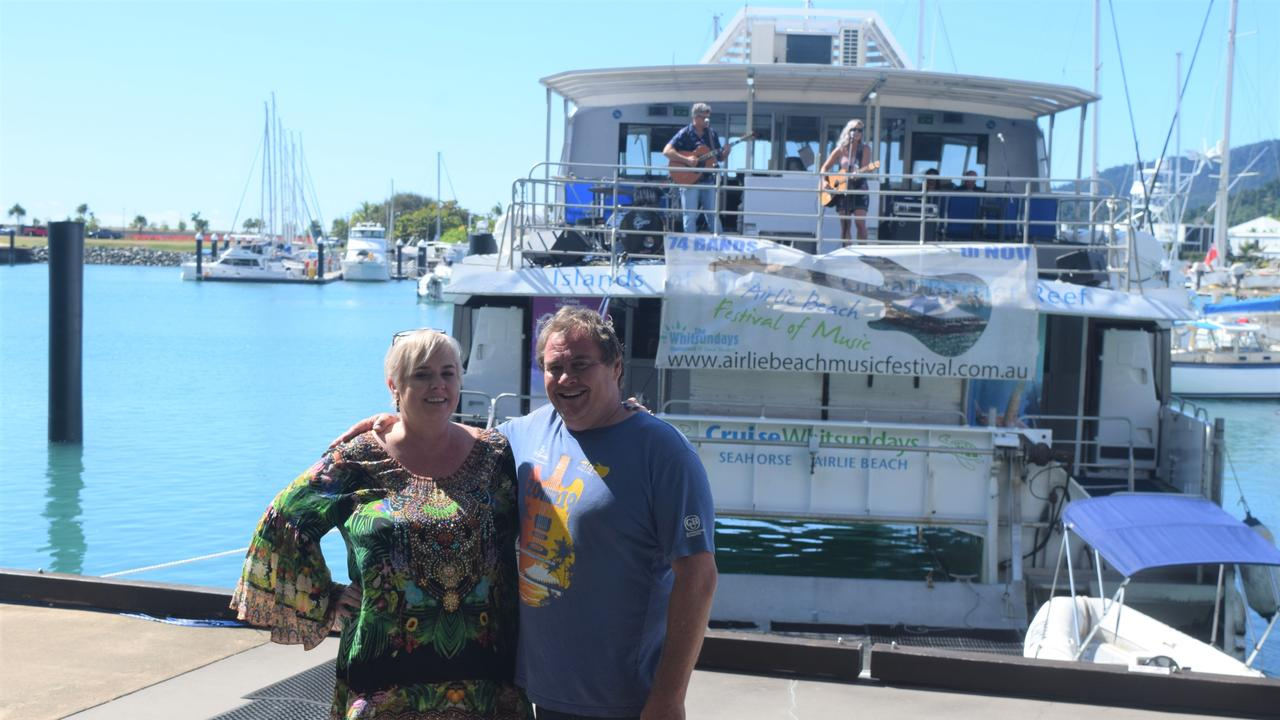 Manager of Mantra Boathouse Kelli Medford and Airlie Beach Festival of Music founder Gavin Butlin at the Tunes at the Marina event earlier this year. Picture: Laura Thomas