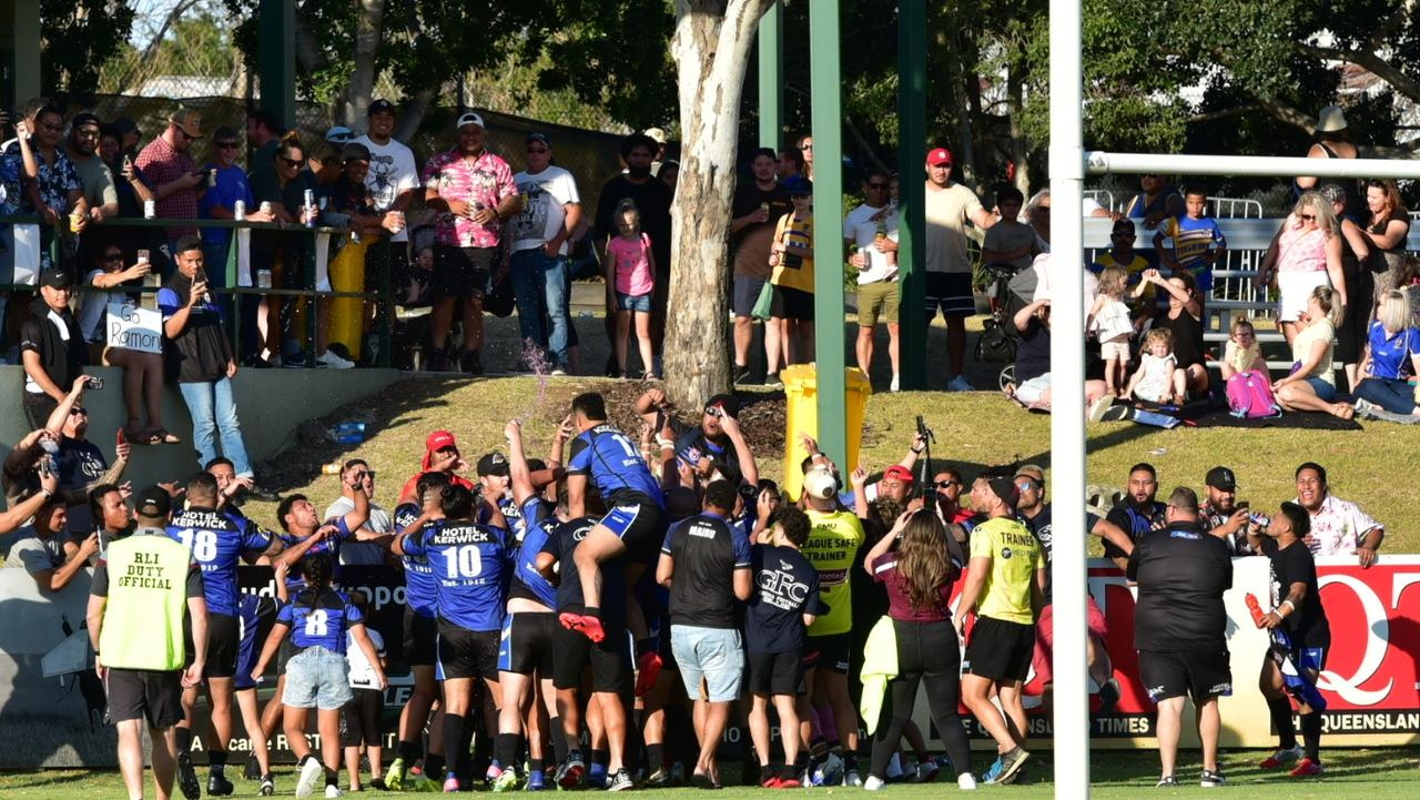 The Goodna Eagles players thank their fans after winning the 2020 Volunteers Cup grand final at the North Ipswich Reserve. Picture: Bruce Clayton
