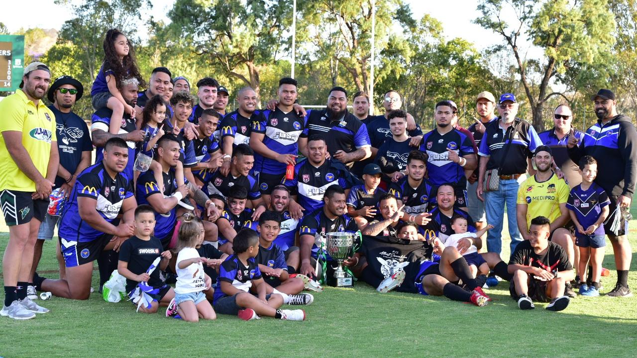 The 2020 Volunteers Cup grand final-winning Goodna Eagles side. Picture: Bruce Clayton