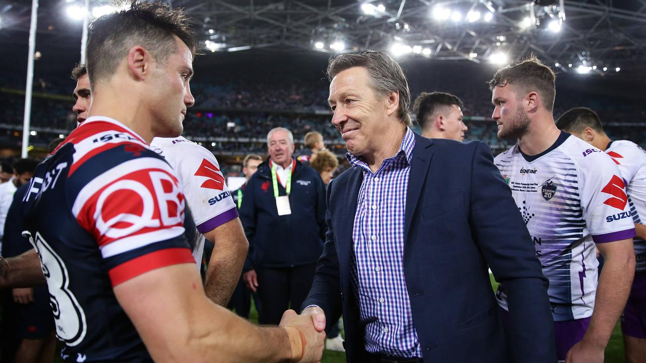 Cooper Cronk shakes hands with Craig Bellamy after the 2018 NRL Grand Final. Picture: Brett Costello