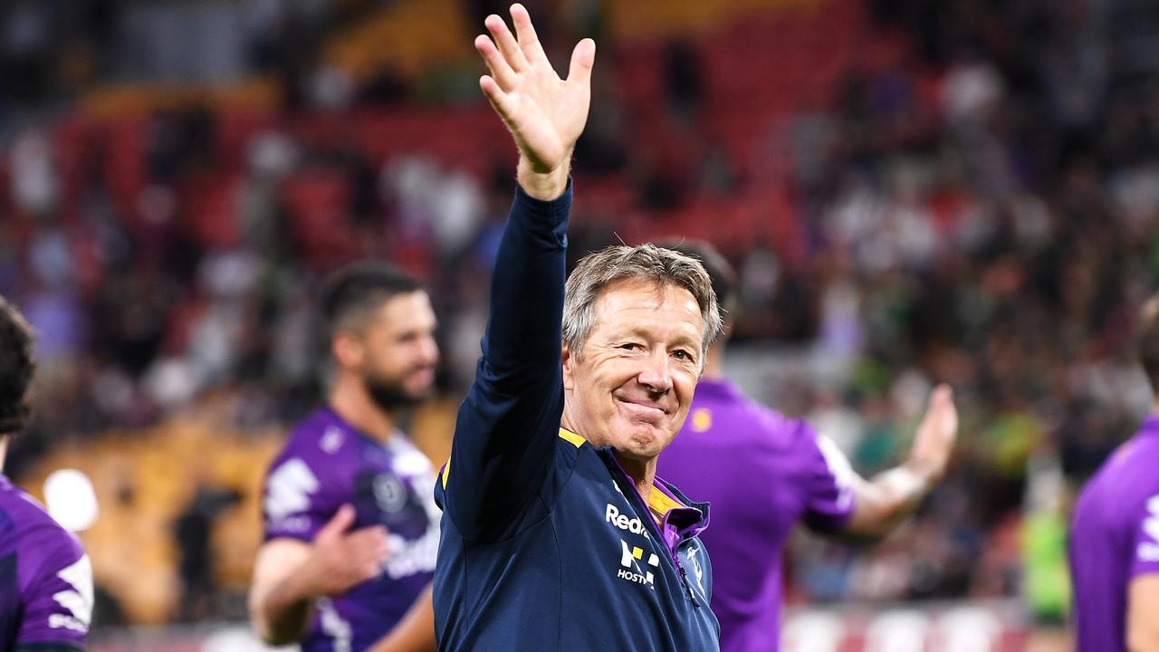 Storm coach Craig Bellamy acknowledges the crowd after victory. Picture: Bradley Kanaris/Getty Images