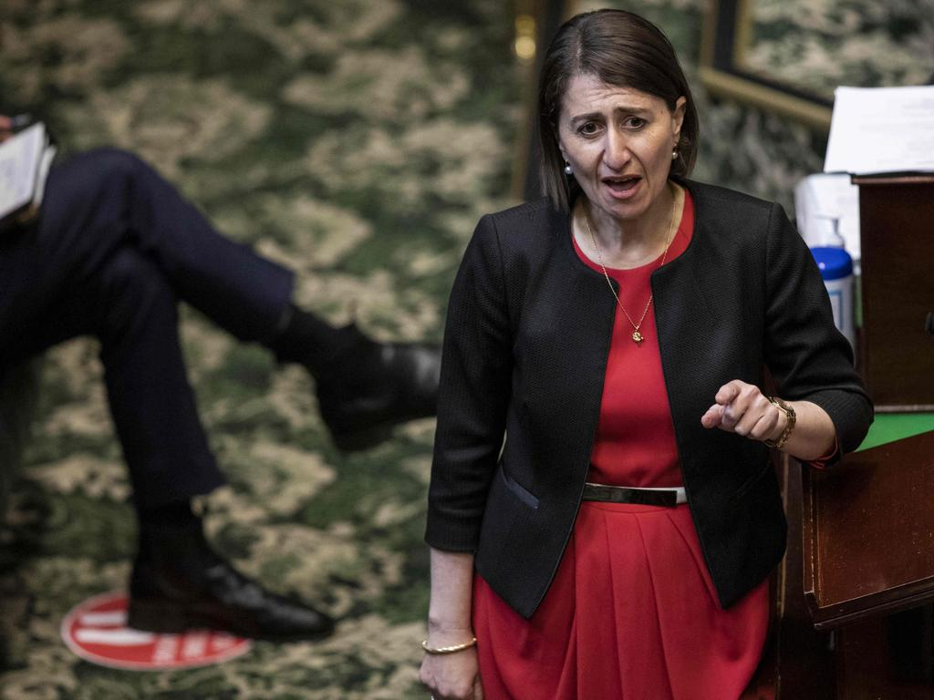Gladys Berejiklian during Question Time on Thursday. Picture: Dominic Lorrimer