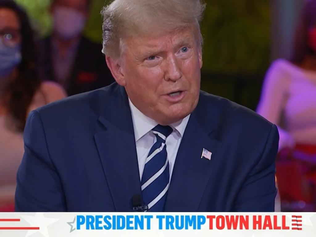 Donald Trump faced some tough questioning from US TV host Savannah Guthrie during his town hall. Picture: Facebook